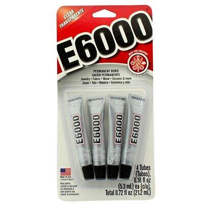 E6000 Clear Permanent Bond Craft Adhesive 4 Tubes - 0.18 oz. Glue](E Craft)