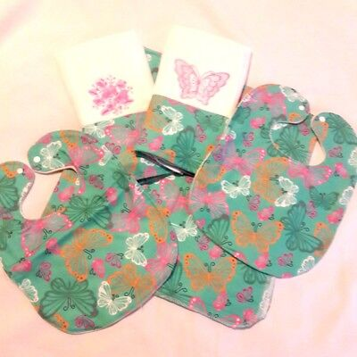 Personalized Butterfly Baby 5 PC Gift Set-Receiving Blanket, 2 Burp & 2 Bib