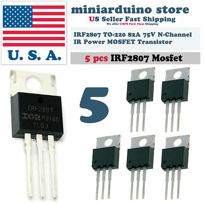 5 X Irf2807 Ir 2807 Mosfet Hexfet Transistor Power N-channel 82a 75v