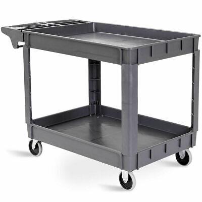 Plastic Utility Service Cart 550 Lbs Capacity 2 Shelves Rolling 46 X 25 X 33