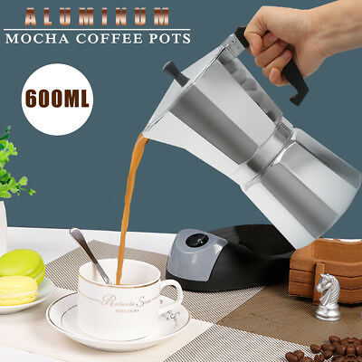 US 600ML 12 Cup Coffee Moka Pot Stove Percolator Maker Top E