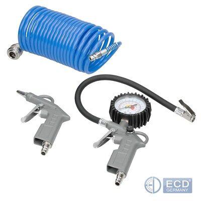 Füllen Luft (Druckluft Set 3 tlg Druckluftset Kompressor Reifendruck Reifenfüller)