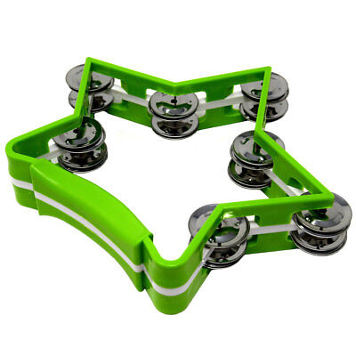 Star Style Tambourine Percussion Drum 7 Double Row Metal Jingles Green