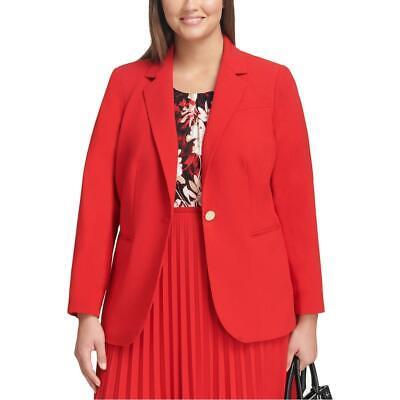 Calvin Klein Womens Red Crepe Professional One-Button Blazer Plus 16W BHFO 6366