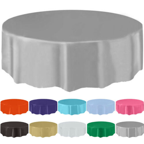"84"" Disposable Round Plastic Tablecloth Table Cover For Wedd"
