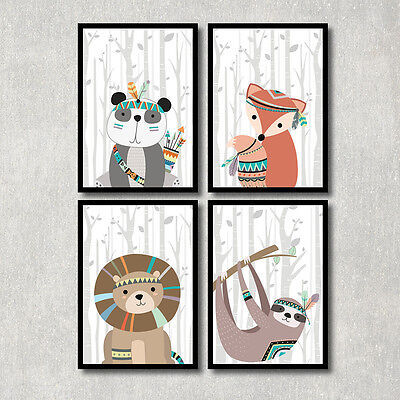 Bild Set Tiere Kunstdruck A4 Panda Fuchs Löwe Murmeltier Kinderzimmer Geschenk
