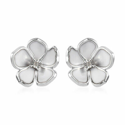 Platinum Plated 925 Sterling Silver Diamond Stud Earrings Jewelry Gift For Women