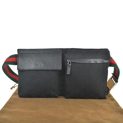M49A GUCCI Authentic Sherry Webbing Waist Pouch Bumbag Belt Bag Fanny Pack Black