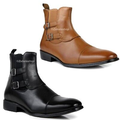 Fashion Men Pull-on Ankle Dress Boots Shoes Double Buckled Strap Brown/ Black
