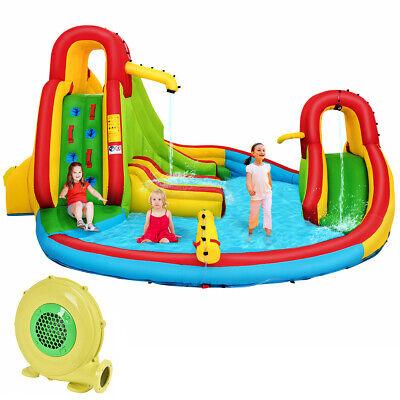 Kids Inflatable Water Slide Bounce Park Splash Pool w/Water