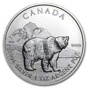 2011 1 oz Silver Canadian Grizzly Coin - Wildlife Series