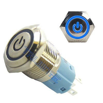 16mm 12v Latching Push Button Power Switch Aluminum Metal Blue Led Waterproof