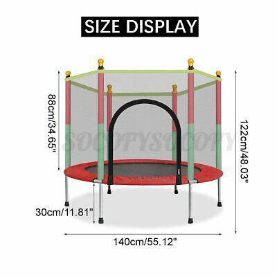 "55"" Kids Round Mini Trampoline Exercise Jumping Safety Pad E"