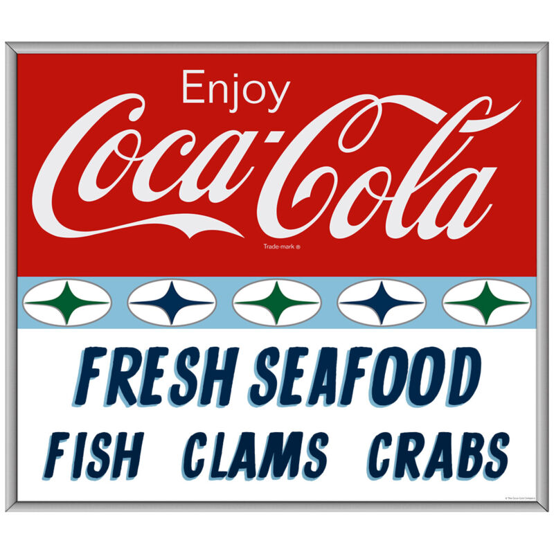 Enjoy Coca-Cola Fresh Seafood Decal 1960s Roadside Style 24 x 21