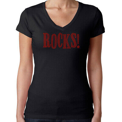- Womens T-Shirt Rhinestone Bling Black Fitted Tee Rocks Sparkle Red