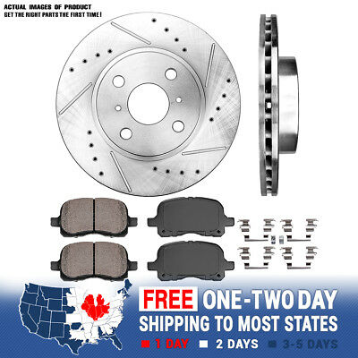 Front Drill Slot Brake Rotors Ceramic Pads For 1998 - 2001 2002 Prizm Corolla