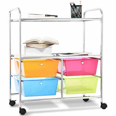 4 Multifunctional Drawers Rolling Storage Cart Rack Shelves