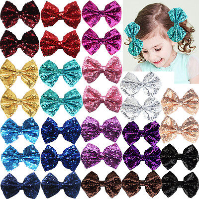 "30pcs 4"" Bling Sparkly Sequin Nylon Mesh Ribbon Hair Clips for Party Grils Kids"