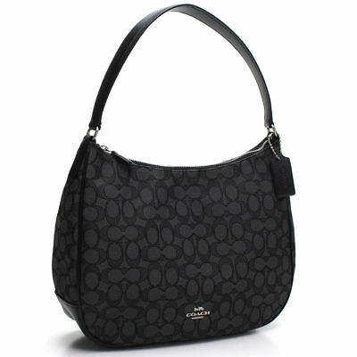 NWT Coach F29959 Signature Jacquard Zip Shoulder Bag Hobo Purse Black Leather