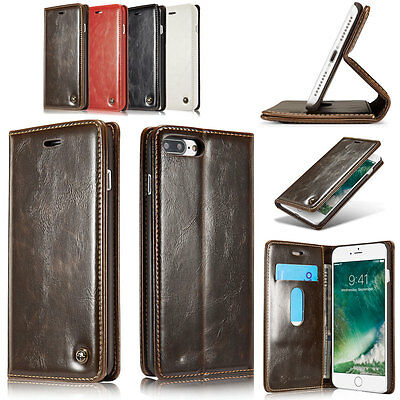 Premium Women Men Wallet Phone Case Leather Flip Stand Cover For iPhone 7 Plus