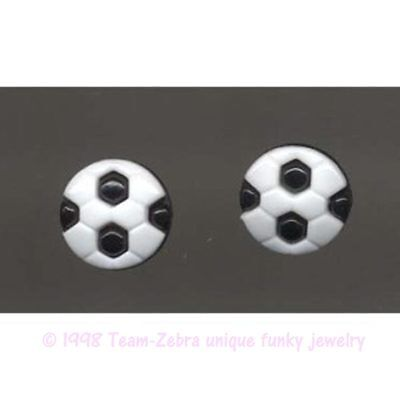 Funky SOCCER BALL BUTTON EARRINGS Futbol Player Coach Referee Costume Jewelry - Soccer Ball Costume