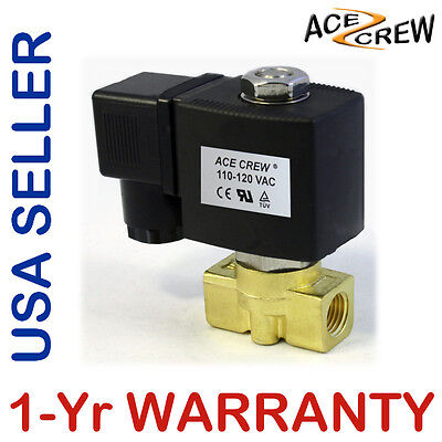 14 Inch 110v-120v Ac Brass Electric Solenoid Valve Npt Gas Water Air Nc