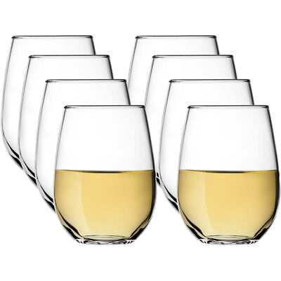 8 Stölzle Stemless Crystal 16oz Wine Glasses Set All Purpose Drinking Red White
