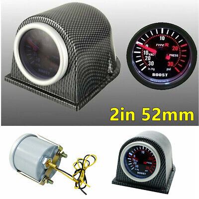 Universal 2in 52mm Car Turbo Boost Gauge Carbon Fiber Style Pod Meter 0-30 PSI
