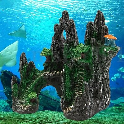 Aquarium Resin Mountain View Tree House Cave Bridge Ornament Fish Tank Decor