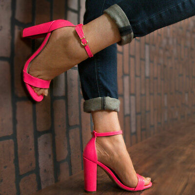 Classic High Heel Sandals - New Classic Neon Color Open Toe Single Sole Sandals Ankle Strap Chunky High Heel
