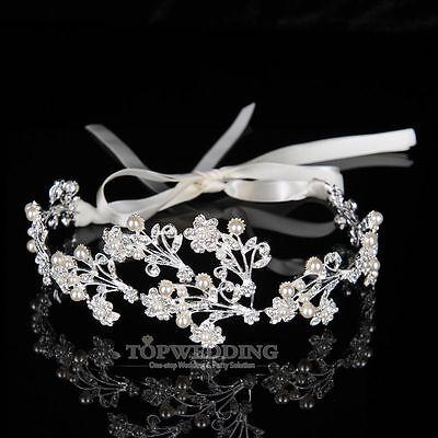 Hochzeit Braut Tiara Haarreif Kristall Blume Blatt Stirnband Diadem Haarschmuck