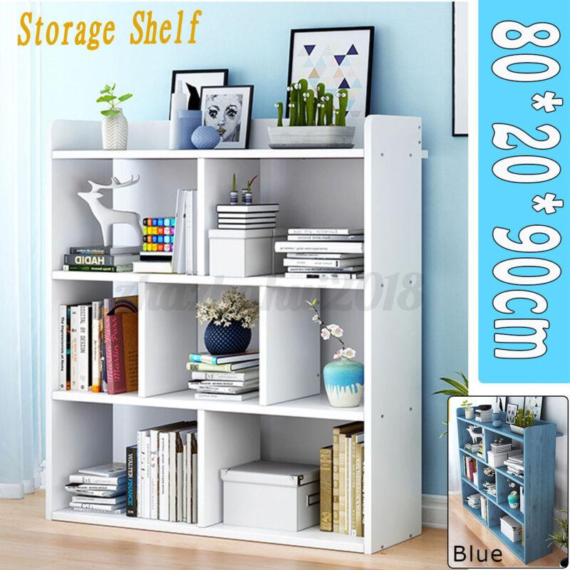 7 Cube Storage Bookcase Shelf Unit Doors Wood Home Office Organiser Display US