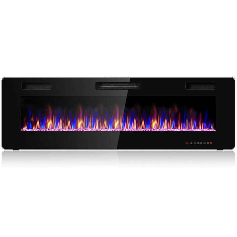 """60"""" Wall Mounted Heater Electric Fireplace Recessed Ultra Thin Multicolor Flame"""