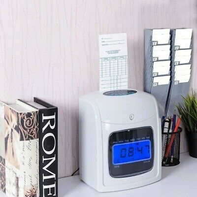 Electronic Recorder Time Lcd Display Card Machine Work Hours Punch Clock Office