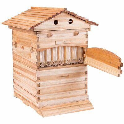 7x Auto Honey Hive Beehive Flow Frames Beekeeping Brood Cedarwood Box Upgrade.