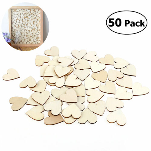50Pcs/set Wooden Love Hearts Shapes DIY Hanging Heart Plain Craft Pieces Slice