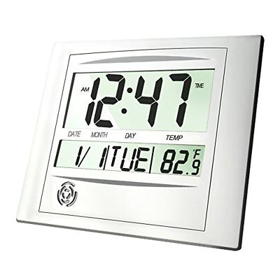 HeQiao Digital Wall Clock, 12 Inch Brushed Aluminum Decorative Desk Clock Silent