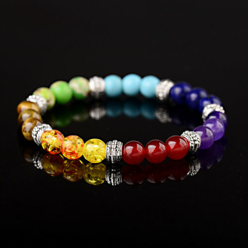 7 Chakra Natural Stone Reiki Energy Healing Women Men Charm