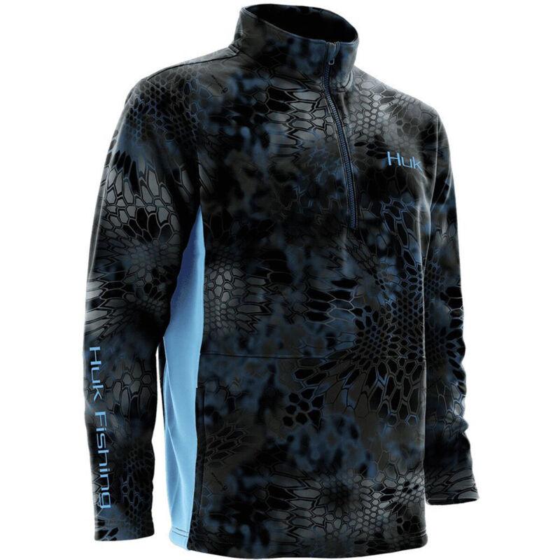 Huk Kryptek Lightweight Water Resistant 1/4 Zip Fleece Top - Medium - Neptune