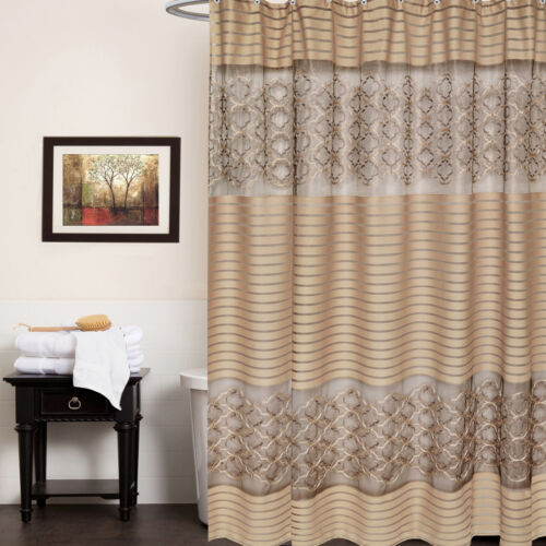 Fabric 70″ x 72″ Bathroom Shower Curtain Popular Bath Spindle Gold Collection Bath