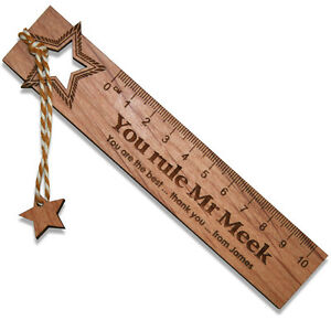 Personalised Teacher Gift Real Wood Bookmark Ruler End of Term Leaving Present
