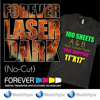 Forever-laser-dark-no-cut-a-amp-b-heat-transfer-paper 11x17 100 Sheets
