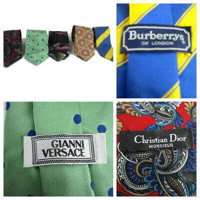 Vtg Gianni Versace Burberrys Dior Givenchy silk  tie lot 5 pc Designer Luxury