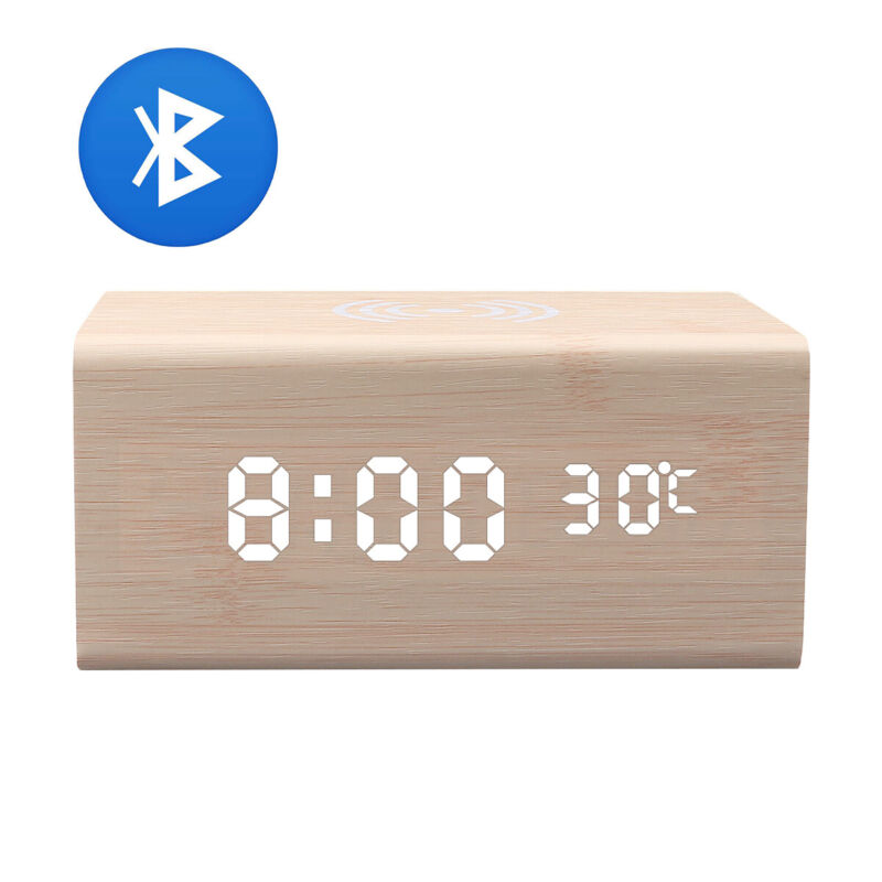 Portable Wireless Charging+Bluetooth Speaker LED Digital Wooden Alarm Clock
