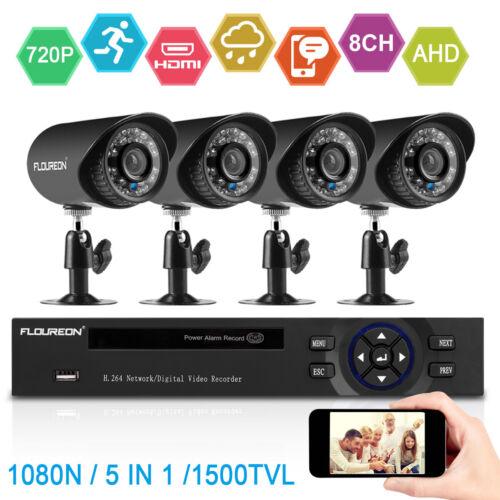 FLOUREON 8 Channel 1080N DVR IP66 1500TVL IR LED Recorder Ca