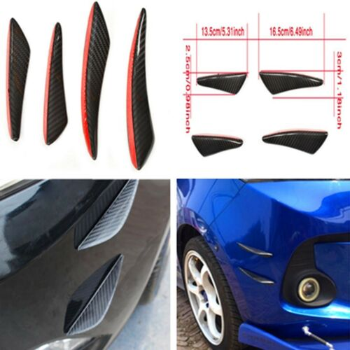 4Pcs / Kit Car Real Carbon Fiber Front Bumper Lip Splitters Fins Spoilers Canard