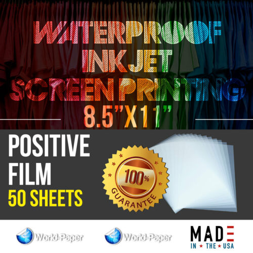 "WATERPROOF Inkjet Transparency Film for Screen Printing 8.5""x11"" 50 SHEETS"