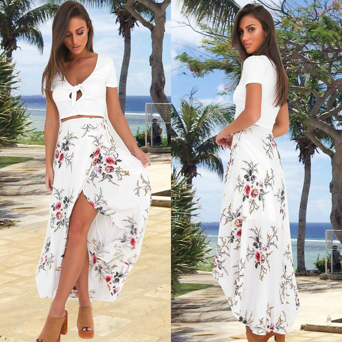 Womens Maxi Boho Floral Summer Beach Slit Evening Cocktail Party Sun Dress US Clothing, Shoes & Accessories