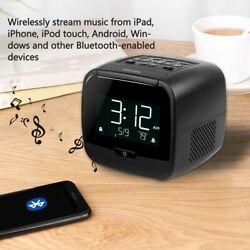 Portable FM Clock Radio Digital Display Bluetooth Speaker MP3 Player Dual Alarm