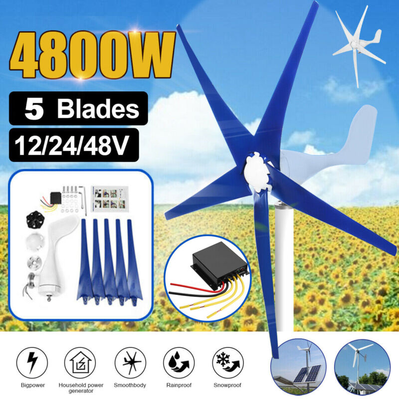 5 Blades 4800W Max Power Wind Turbines Generator 12/24/48V Charge Controller TOP